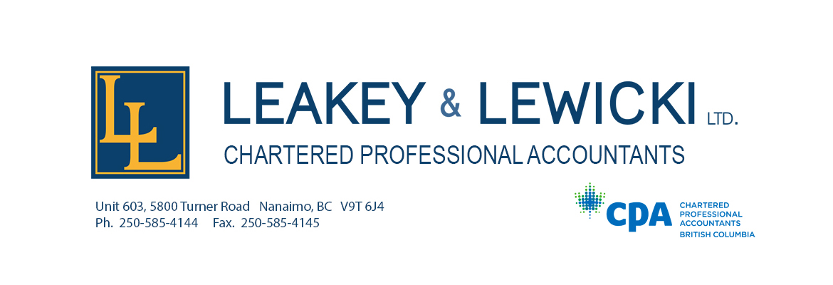 Logo for Leakey and Lewicki, Chartered Professional Accountants in Nanaimo, BC